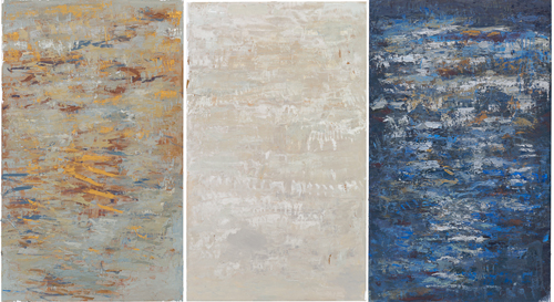 oil on canvas mounted on panel,  60 x 63 inches [3 panels] - (152.4 x 91.4 cm)