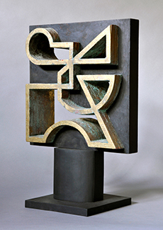 carved wood (oxidized gild and painted),  12 x 12 x 4 inches (30.5 x 30.5 x 10 cm)