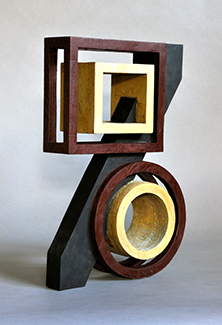 carved wood (oxidized gild and painted),  15.5 x 9.75 x 3.75 inches (39.4 x 24.8 x 9.5 cm)