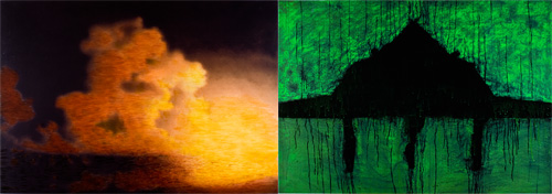 acrylic on panel (diptych),  47.75 x 136.5 inches (121.2 x 346.7 cm)