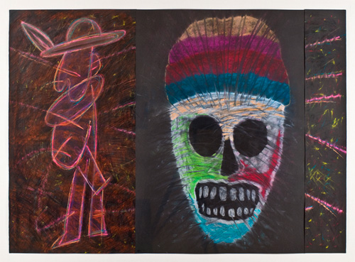 pastel on paper (triptych),  39.5 x 56 inches (100.3 x 142.2 cm)