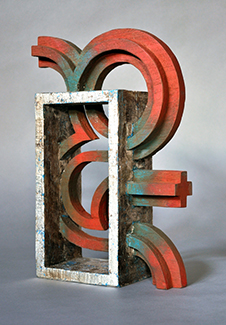 carved wood (oxidized gild and painted),  12 x 8 x 3 inches (30.5 x 20.3 x 7.6 cm)