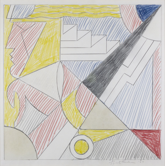 Pencil, colored pencil and pasted paper,  22.5 x 22.375 inches (57.2 x 56.8 cm)