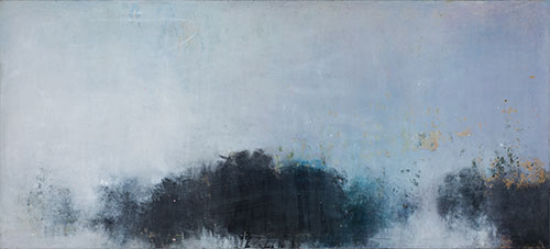 oil and wax on canvas,  36 x 80 inches (91.4 x 203.2 cm)
